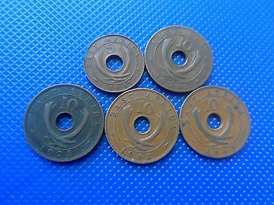5 East Africa Cent Coins  1924 -1943. Fine.