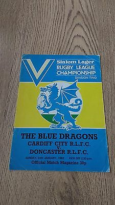 Cardiff City v Doncaster 1982 Rugby League Programme
