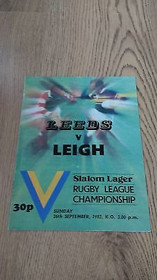 Leeds v Leigh 1982 Rugby League Programme