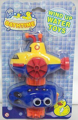Pack Of 2 Bathtime Wind Up Water Bath Toys Bath Boat Submarine Fun For Kids