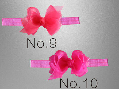 "50 BLESSING Good Girl 3.5"" Double ABC Organza Hair Bow Headband 88 No. Hairbow"