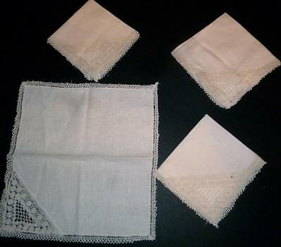 Vintage Set 4 Ecru Lace Edged Very Pretty Tea Napkins