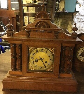 Large Antique Carved & Turned Oak Cased 8 Day Mantle Clock In Working Order