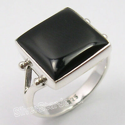 925 Pure Silver CABOCHON BLACK ONYX RICHFEEL Ring Any Size 3.7 Grams BESTSELLER