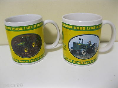 2 John Deere Coffee Tea Mugs 2004 Collector's Series Tractors