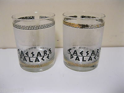 2 Caesars Palace Casino Gilded Gold Whiskey Scotch Glass Tumbler Bar ware
