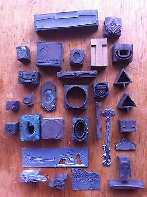 Job Lot Of Antique And Vintage Printing Blocks 30 In Total