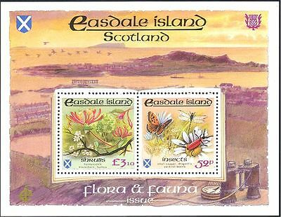 Easdale (GB Local) Flowers/Butterfly/Dragonfly/Beetle/Insects 2v m/s (n12863)
