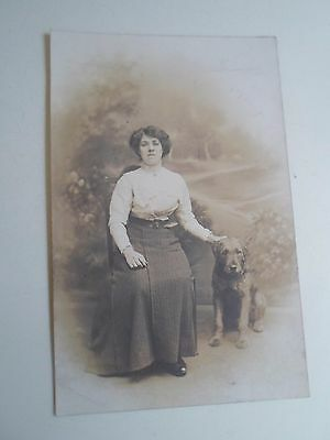 Retro Vintage RPPC - Lady With Rough Coated Labrador X Terrier Type Dog