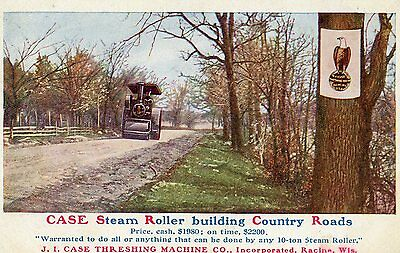 Case Steam Roller Building Country Roads Advertising Pre Linen Unused Postcard