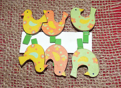 Pack Of 6 Bright Painted Hen Peg Embellishments/photo Holders#craft