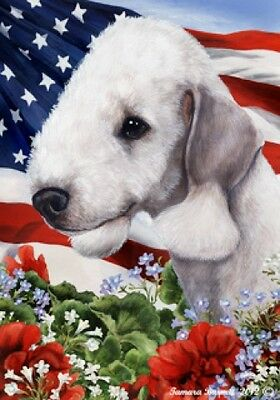 Garden Indoor/Outdoor Patriotic I Flag - Bedlington Terrier 161411