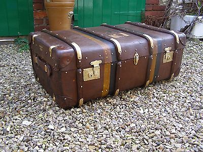 Super Antique Vintage John Pound Leather Steamer Trunk Coffee Table Travel Chest