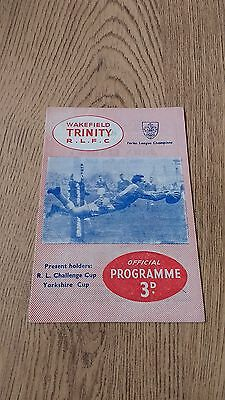 Wakefield Trinity v Hull Feb 1961 Rugby League Programme