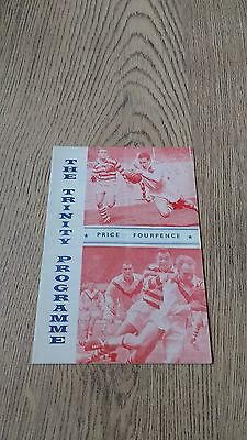 Wakefield Trinity v Hunslet Oct 1963 Rugby League Programme