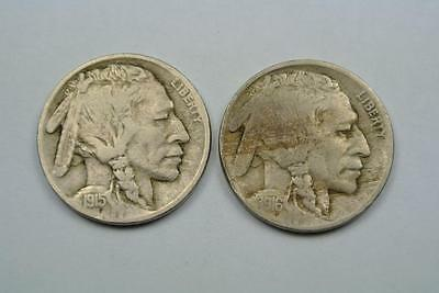 TWO Buffalo, Indian Head Nickels, 1915 & 1916, Fine Conditions - C2048