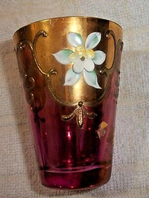 "Antique Cranberry Glass with Applied Enamel Flowers & Gold - 2 7/8"" inches"
