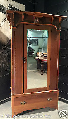 Can Deliver: Arts And Crafts Oak Wardrobe Robe Armoire Restoration Shabby Chic