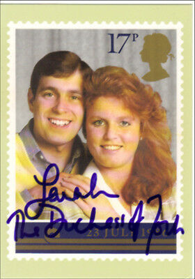 Sarah Ferguson Duchess Of York Hand Signed Autographed 2X Royal Wedding 1986 Phq