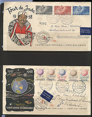 Indonesia 1958 2 Registered First Day Covers FDC to Netherlands