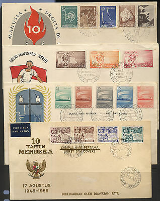Indonesia 1950's Collection 4 First Day Covers FDC (No Addresses)