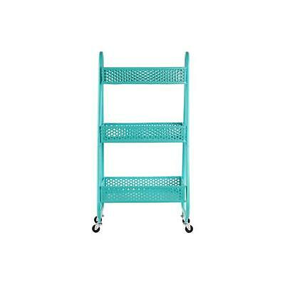 Urban Trends Collection 12398 Metal Cart With 3 Peforated Bins Blue