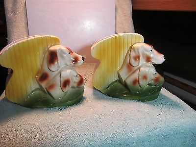 Vintage USA marked American Bisque Pottery Hunting/Bird Dog bookends/planters.