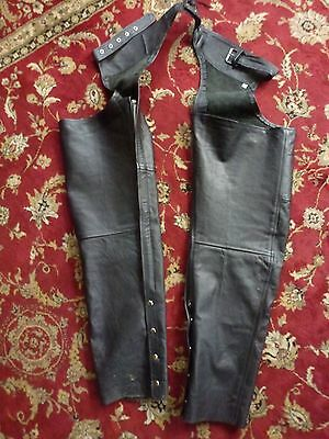 Black Leather  Cowhide Chaps / Motorcycle Biker Trousers - Large Adjustable
