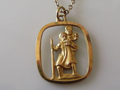 Vintage 9ct yellow gold St. Christopher pendant & chain (18 inches).