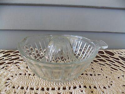 Vintage Clear Glass Ribbed Juicer Reamer with Tab Handle & Spout