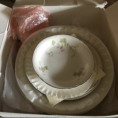 Vintage China  7 Pieces 1 Place Setting Pope Gosser Plates Delicate Wild Roses