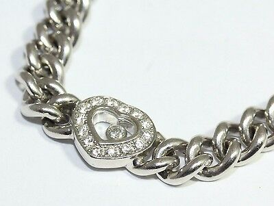 Chopard 18ct White Gold Happy Diamond Heart Curb Link Bracelet Length 7 Inches