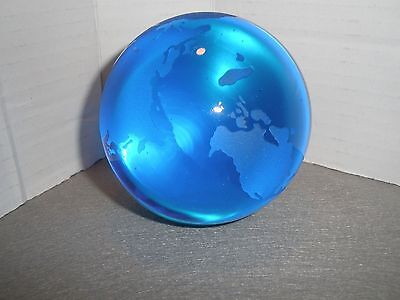 """2 1/2"""" Blue World Globe Crystal Glass Paper Weight"""