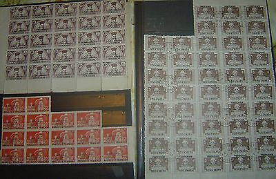 INDOCHINE lot de  100 TIMBRES  OBLITERES EN  BLOCS - 3. TYPES DIFFERENTS -SURCHA