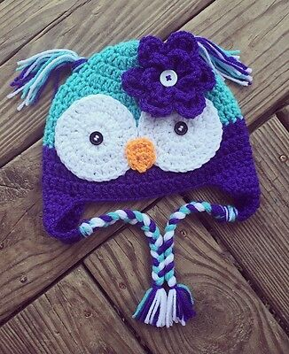 Toddler Girls Crochet Blue Purple OWL Earflap Hat with Braids and Flower