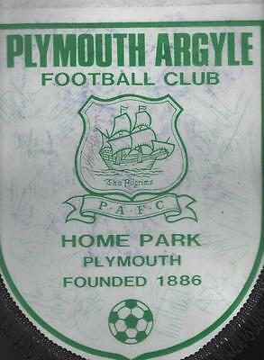PLYMOUTH ARGYLE Signed Football Pennant late 1980's FREE POST UK