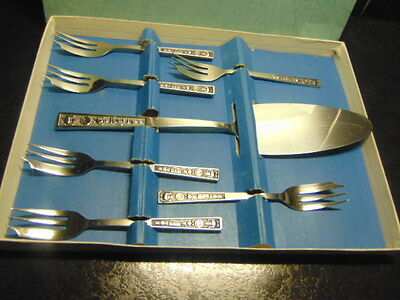 Vintage set Stainless PASTRY/CAKE FORKS with matching SERVING SLICE