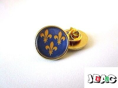 Pins Pin's Badge 3 Fleurs De Lys Royaliste - Finition Argentee Ou Doree