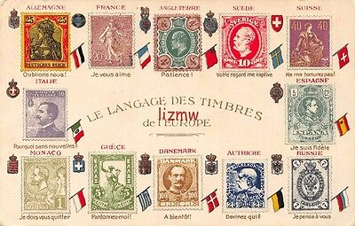 Langage Des Timbres De Europe Russia Spain Italy Postage Stamps Embossed Card