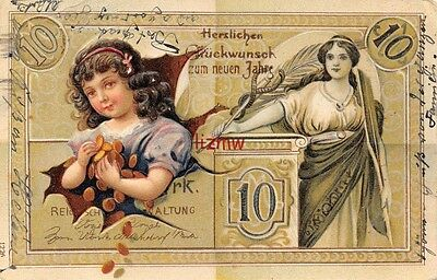 Luxembourg Banknote & Small Girl With Armful Of Coins Embossed Card