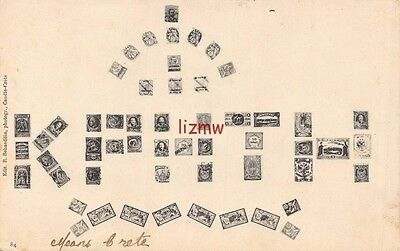Crete Postage Stamps Spell Out' Kphth' Small Stamps Around Printed Card