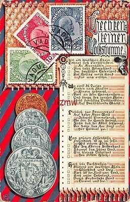 Liechtenstein 3 Postage Stamps & 4 Coins Not Real & Poem On Scroll Printed Card