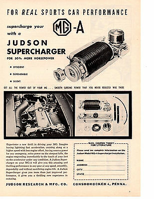 1958 Supercharge Your Mg-A With A Judson Supercharger ~ Original Print Ad