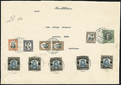 CHILE 1928 Testart complete set on cover circulated Valparaiso to Santiago