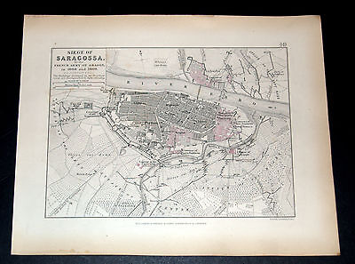 SIEGE OF SARAGOSSA by French 1808/09 NAPOLEONIC WARS ALISON'S ATLAS 1850 map 49