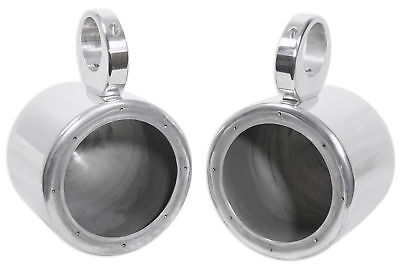 "Pair Rockville 6.5"" Polished Silver Aluminum Wakeboard Tower Speaker Enclosures"