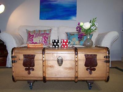 Vintage Steamer Trunk Bentwood Chest Wooden COFFEE TABLE Blanket Box on Castors