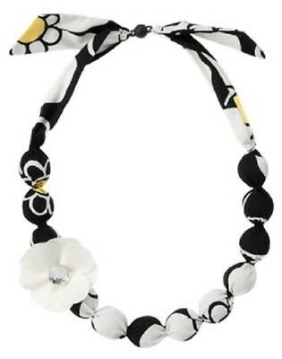 Gymboree Bee Chic Necklace Girls Black White Fabric Covered Beads Flower Jewelry