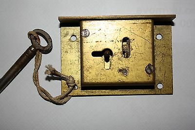 Antique LEGGE Brass Cupboard / Drawer Lock Complete With Key