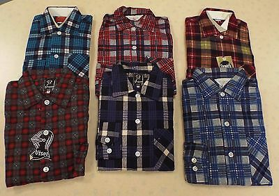 6 x VINTAGE 1970's UNWORN BOYS CHECK PATTERNED SHIRTS ASSORTED COLOURS & SIZES